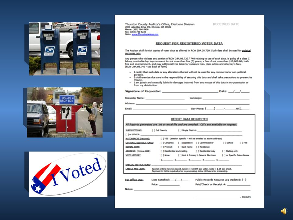 Provide Ballot Drop Box and Return Information Available Data – Lists & Match Backs GOTV for 20-Days .