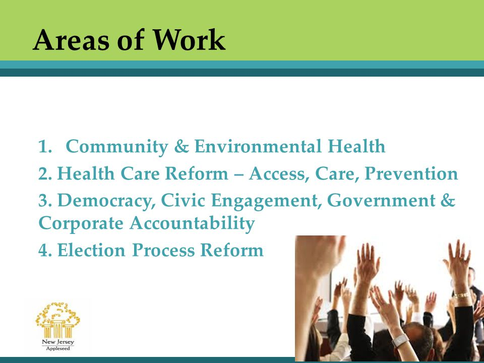 Areas of Work 1.Community & Environmental Health 2.