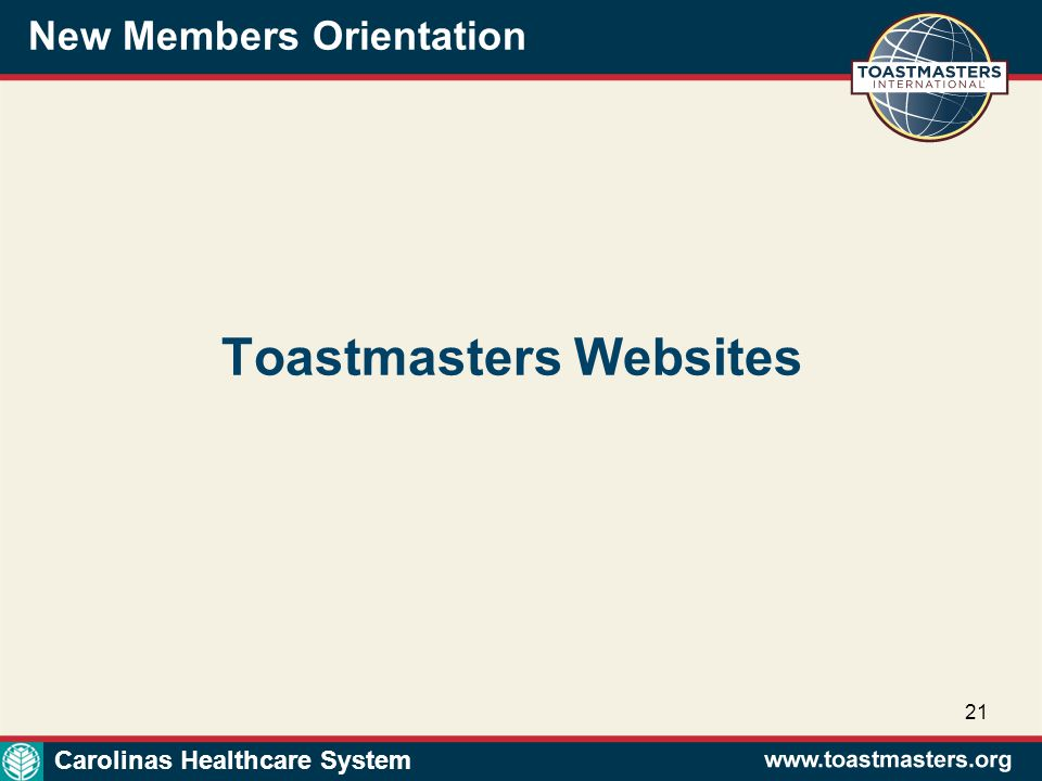 New Members Orientation 21 Toastmasters Websites Carolinas Healthcare System