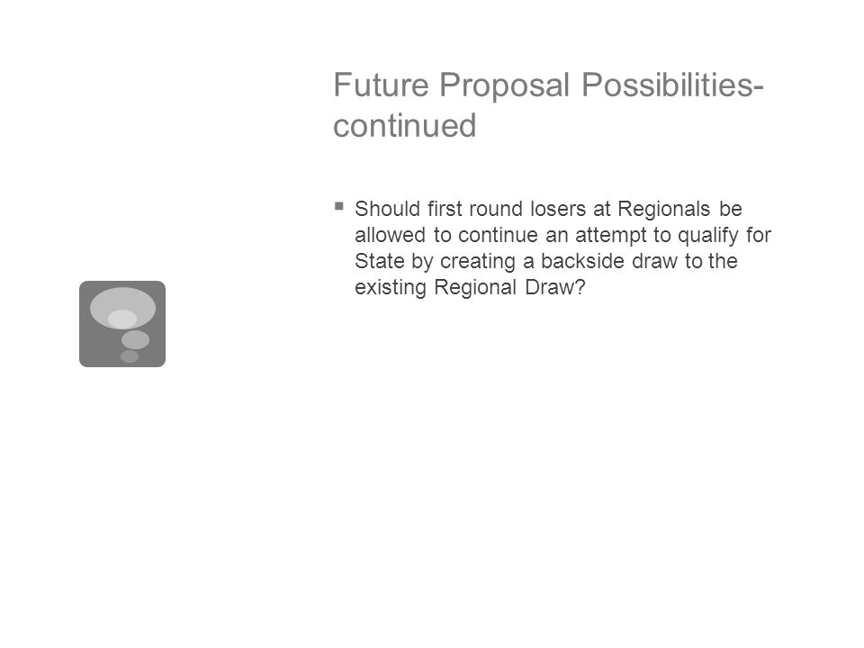 Future Proposal Possibilities- continued  Should first round losers at Regionals be allowed to continue an attempt to qualify for State by creating a backside draw to the existing Regional Draw