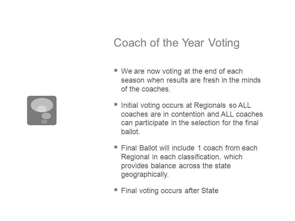 Coach of the Year Voting  We are now voting at the end of each season when results are fresh in the minds of the coaches.  Initial voting occurs at