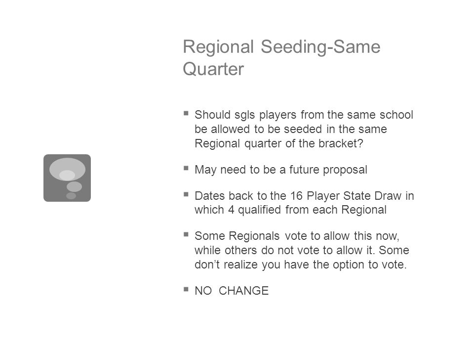 Regional Seeding-Same Quarter  Should sgls players from the same school be allowed to be seeded in the same Regional quarter of the bracket.