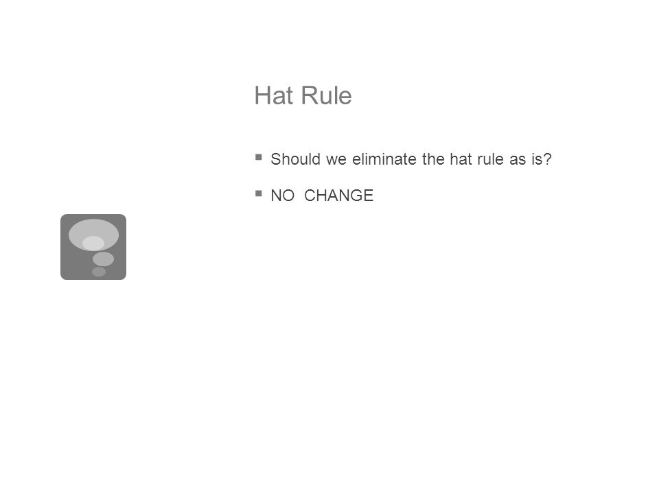 Hat Rule  Should we eliminate the hat rule as is?  NO CHANGE