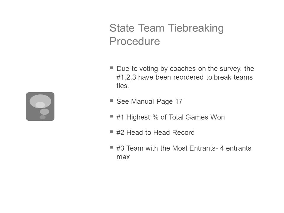 State Team Tiebreaking Procedure  Due to voting by coaches on the survey, the #1,2,3 have been reordered to break teams ties.