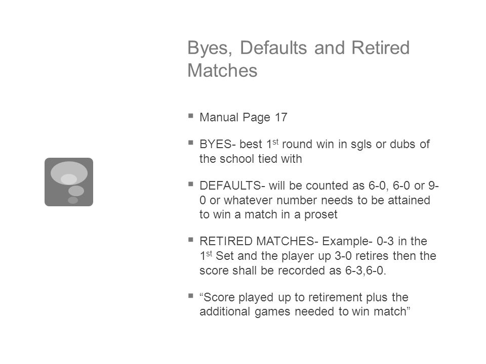 Byes, Defaults and Retired Matches  Manual Page 17  BYES- best 1 st round win in sgls or dubs of the school tied with  DEFAULTS- will be counted as