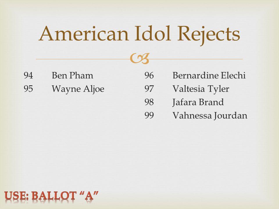  American Idol Rejects 94Ben Pham 95Wayne Aljoe 96Bernardine Elechi 97Valtesia Tyler 98Jafara Brand 99Vahnessa Jourdan