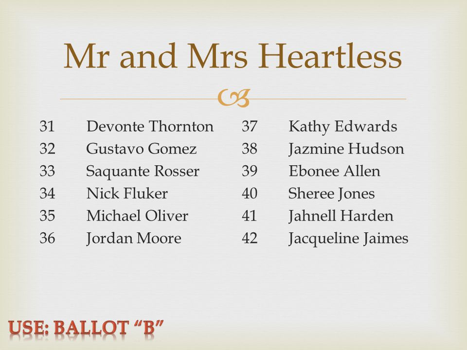  Mr and Mrs Heartless 31Devonte Thornton 32Gustavo Gomez 33Saquante Rosser 34Nick Fluker 35Michael Oliver 36Jordan Moore 37Kathy Edwards 38Jazmine Hudson 39Ebonee Allen 40Sheree Jones 41Jahnell Harden 42Jacqueline Jaimes