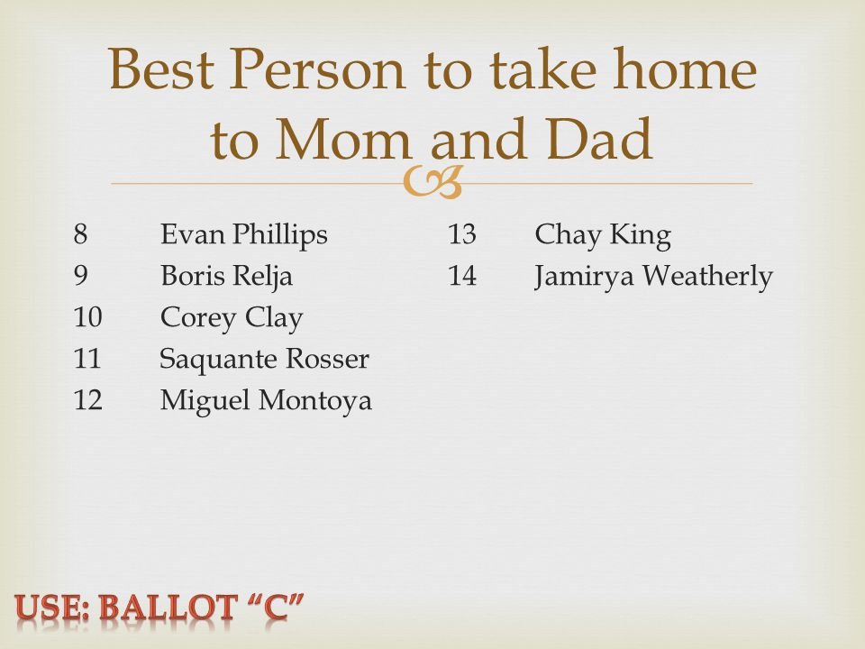  Best Person to take home to Mom and Dad 8Evan Phillips 9Boris Relja 10Corey Clay 11Saquante Rosser 12Miguel Montoya 13Chay King 14Jamirya Weatherly