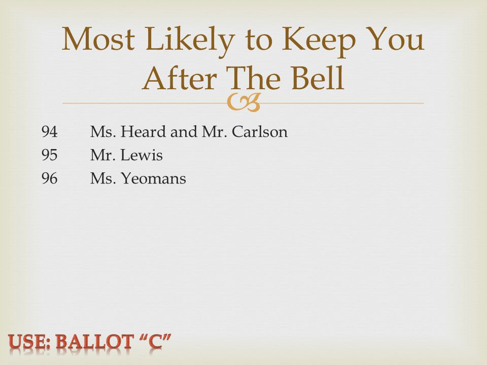  Most Likely to Keep You After The Bell 94Ms. Heard and Mr. Carlson 95Mr. Lewis 96Ms. Yeomans