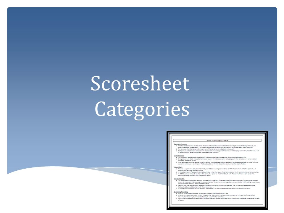 Scoresheet Categories
