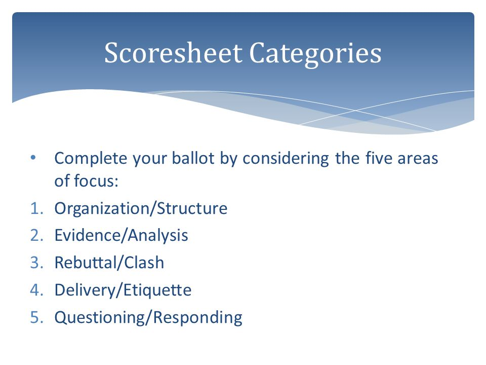 Complete your ballot by considering the five areas of focus: 1.Organization/Structure 2.Evidence/Analysis 3.Rebuttal/Clash 4.Delivery/Etiquette 5.Ques