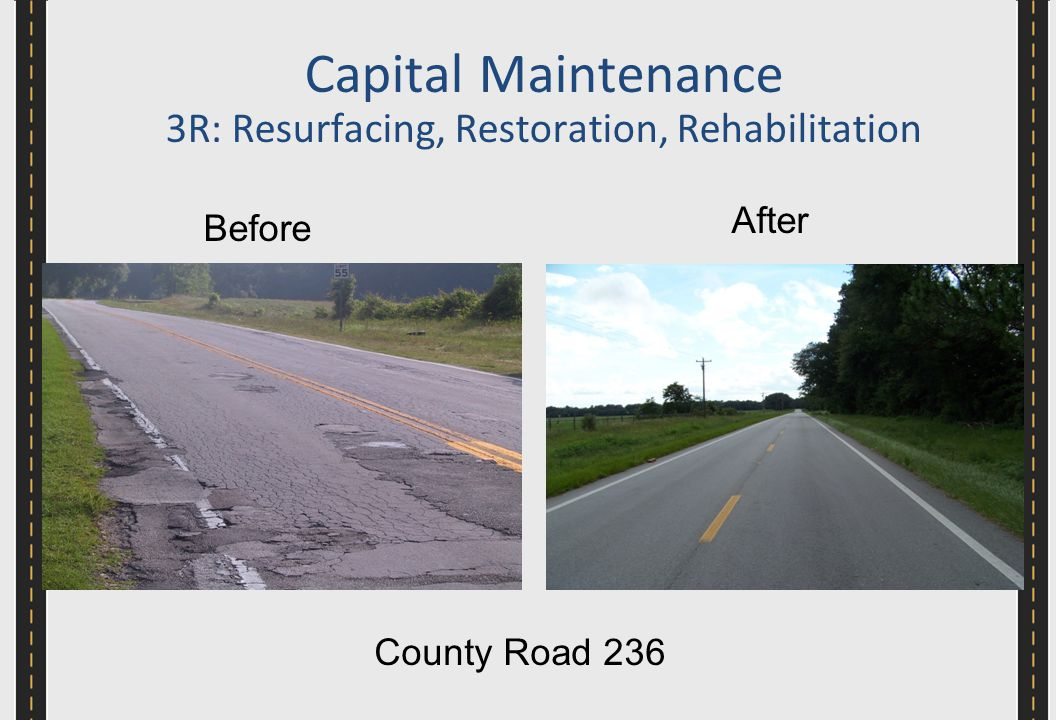 Before After County Road 236 Capital Maintenance 3R: Resurfacing, Restoration, Rehabilitation