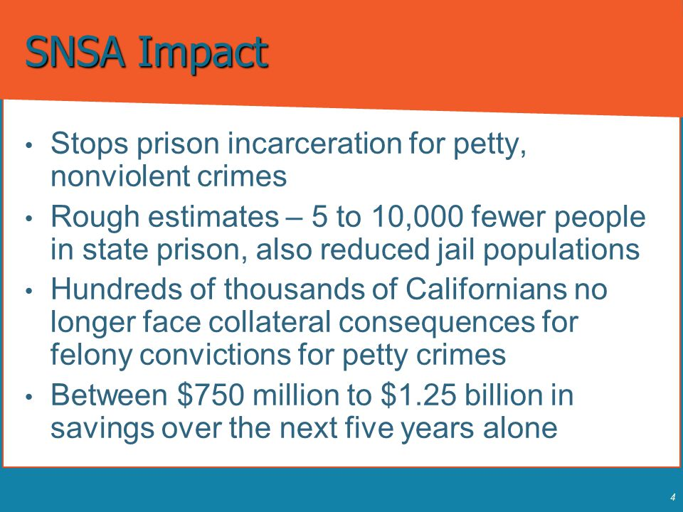 4 SNSA Impact Stops prison incarceration for petty, nonviolent crimes Stops prison incarceration for petty, nonviolent crimes Rough estimates – 5 to 1