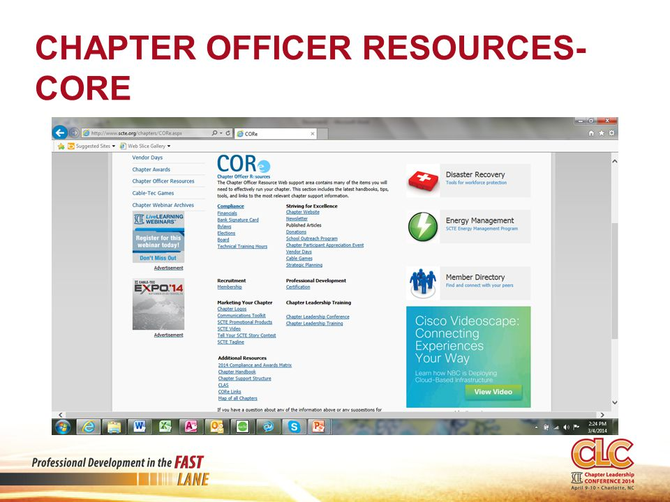 CHAPTER OFFICER RESOURCES- CORE