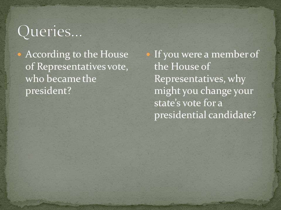 According to the House of Representatives vote, who became the president.