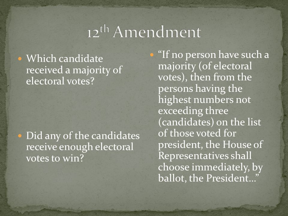 Because there was no clear electoral vote winner – the 12 th Amendment was invoked (used), which put the decision of who would become president in the hands of Congress (law- making branch).
