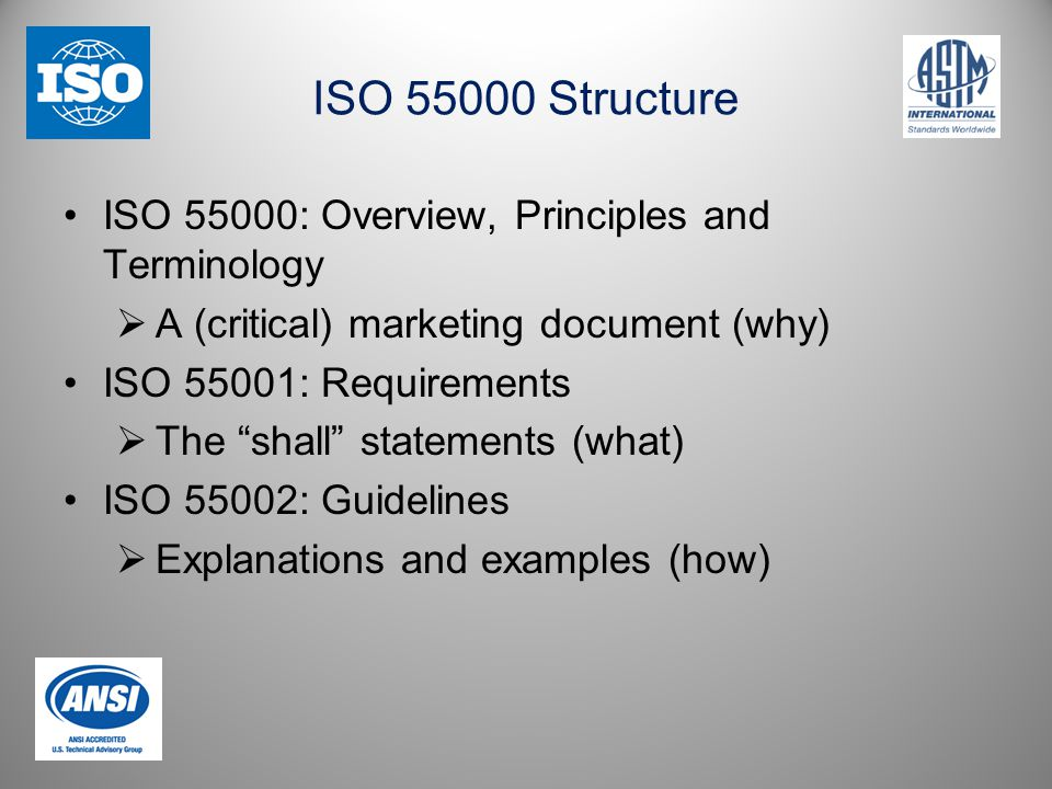 ISO 55000 Structure ISO 55000: Overview, Principles and Terminology  A (critical) marketing document (why) ISO 55001: Requirements  The shall statements (what) ISO 55002: Guidelines  Explanations and examples (how)