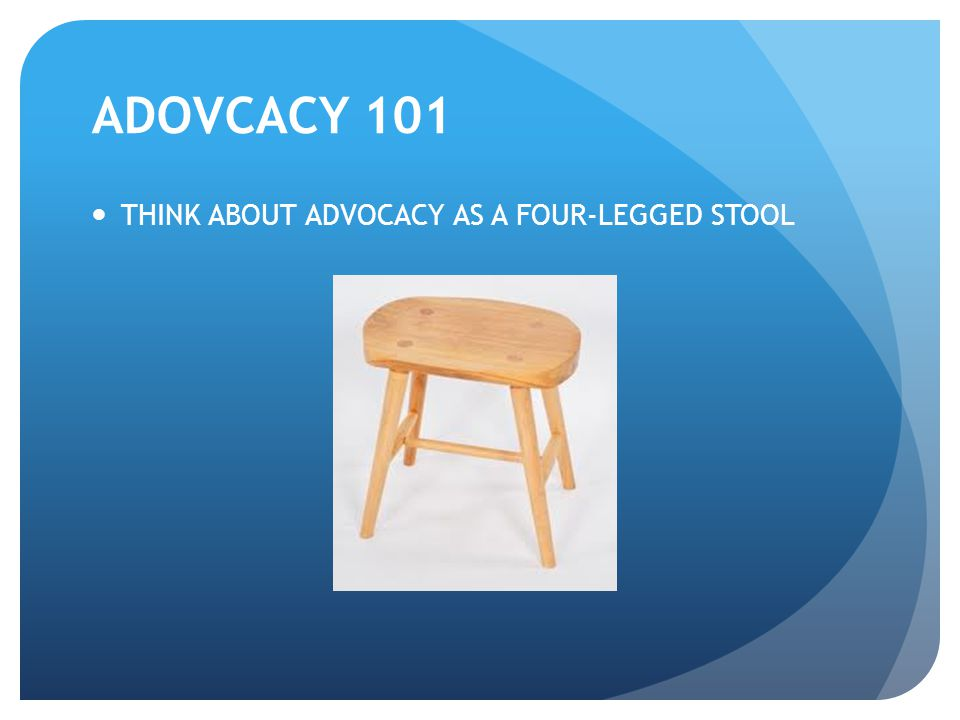ADOVCACY 101 THINK ABOUT ADVOCACY AS A FOUR-LEGGED STOOL