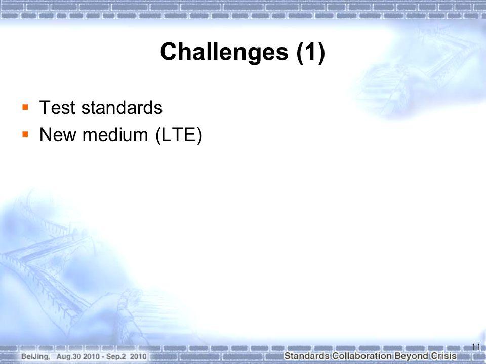 Challenges (1)  Test standards  New medium (LTE) 11