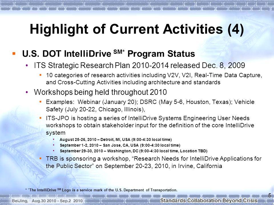 Highlight of Current Activities (4)  U.S.