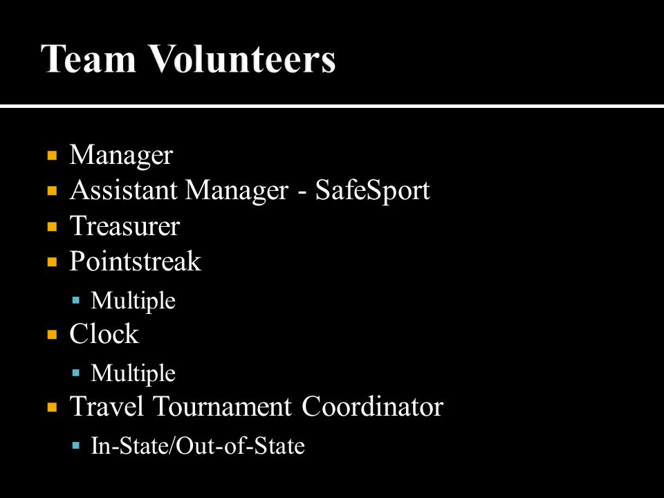  Manager  Assistant Manager - SafeSport  Treasurer  Pointstreak  Multiple  Clock  Multiple  Travel Tournament Coordinator  In-State/Out-of-State