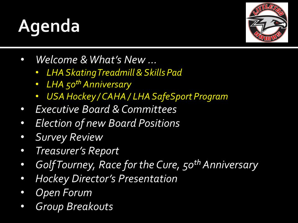 PositionCurrent PresidentDarren Walsh Up for reelection Vice PresidentBob Ghia TreasurerDave Hill SecretaryJulie Buck Up for reelection VP of Hockey OperationsDan Woodley Open position VP of CoachesKelly Hollingshead Open position Director of Membership &Brendan Kelly Community Affairs / Web Master