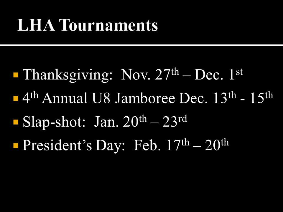  Thanksgiving: Nov. 27 th – Dec. 1 st  4 th Annual U8 Jamboree Dec.