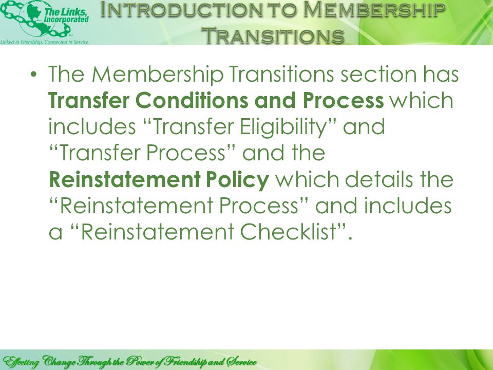 CLICK TO EDIT SUB TITLE MEMBER SHIP TRAINSITIONS