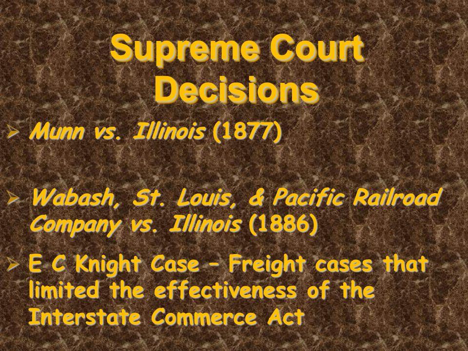 Supreme Court Decisions  Munn vs. Illinois (1877)  Wabash, St.