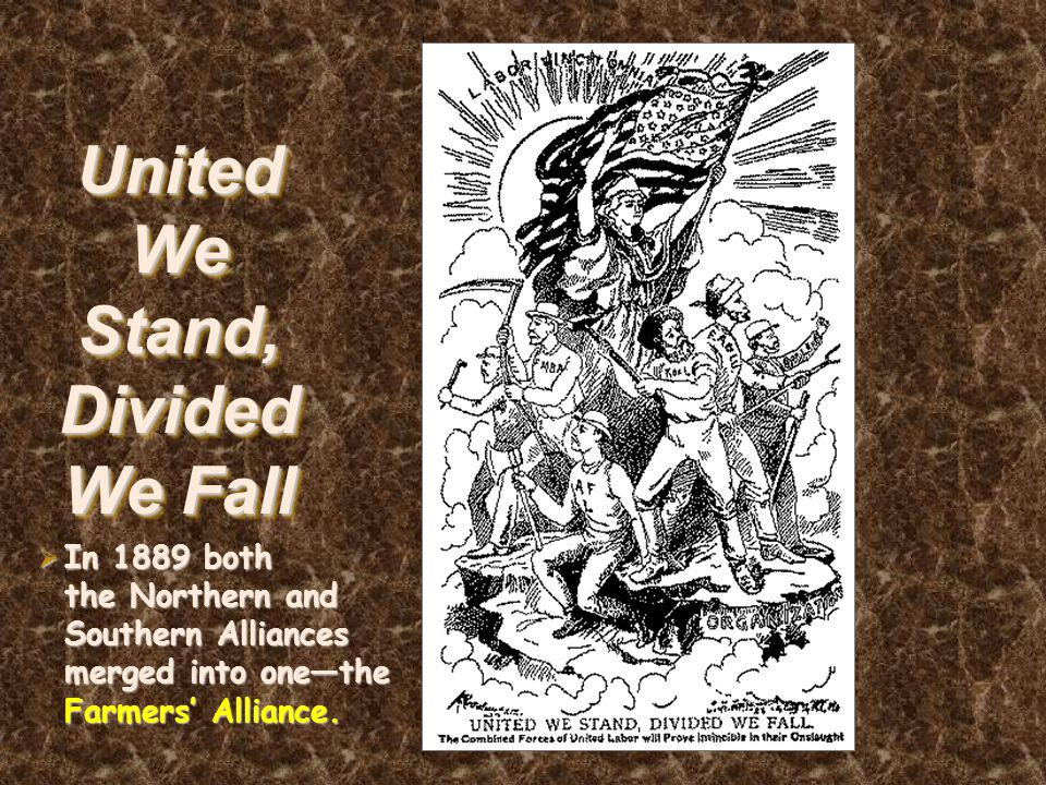 United We Stand, Divided We Fall  In 1889 both the Northern and Southern Alliances merged into one—the Farmers' Alliance.