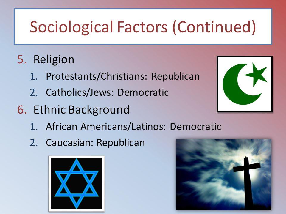 Sociological Factors (Continued) 5.Religion 1.Protestants/Christians: Republican 2.Catholics/Jews: Democratic 6.Ethnic Background 1.African Americans/Latinos: Democratic 2.Caucasian: Republican