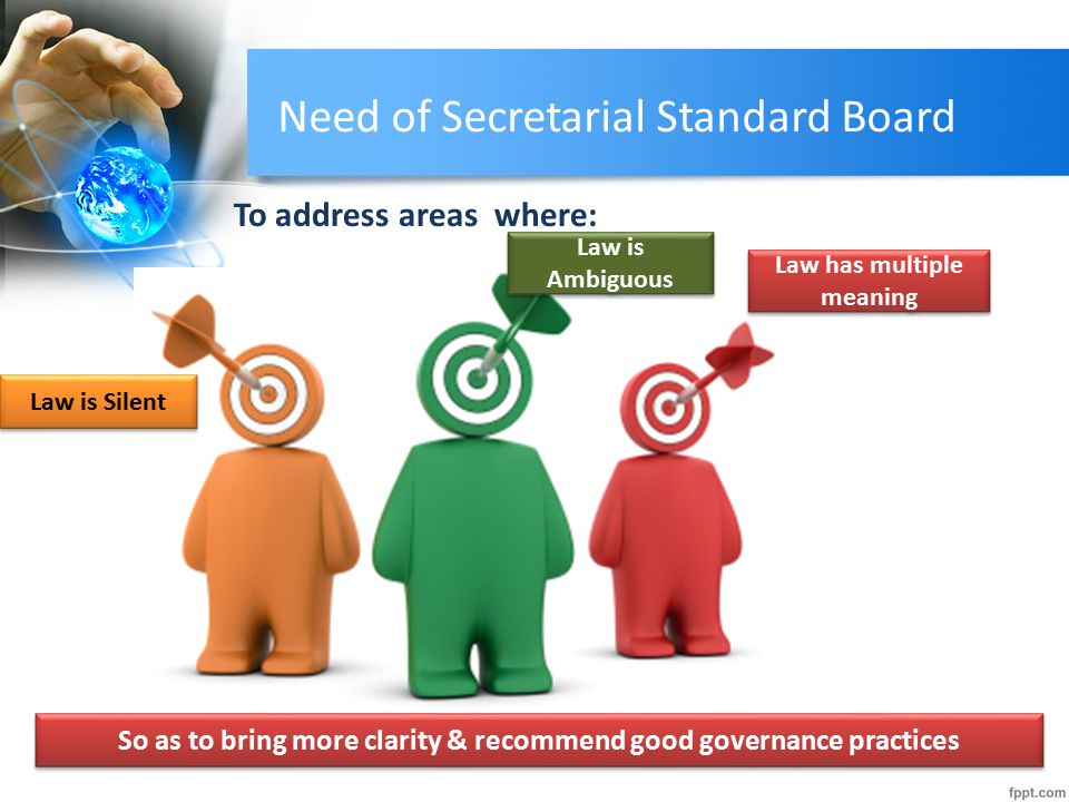 Need of Secretarial Standard Board To address areas where: Law is Silent Law is Ambiguous Law has multiple meaning Law is Silent Law is Ambiguous Law has multiple meaning So as to bring more clarity & recommend good governance practices