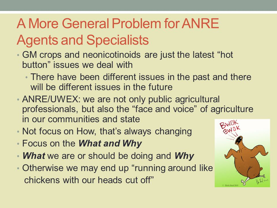 A More General Problem for ANRE Agents and Specialists GM crops and neonicotinoids are just the latest hot button issues we deal with There have been different issues in the past and there will be different issues in the future ANRE/UWEX: we are not only public agricultural professionals, but also the face and voice of agriculture in our communities and state Not focus on How, that's always changing Focus on the What and Why What we are or should be doing and Why Otherwise we may end up running around like chickens with our heads cut off