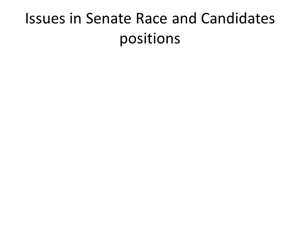 Issues in Senate Race and Candidates positions