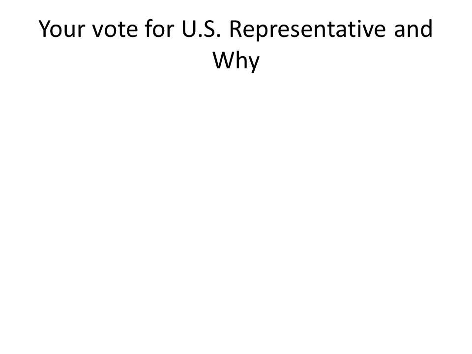 Your vote for U.S. Representative and Why