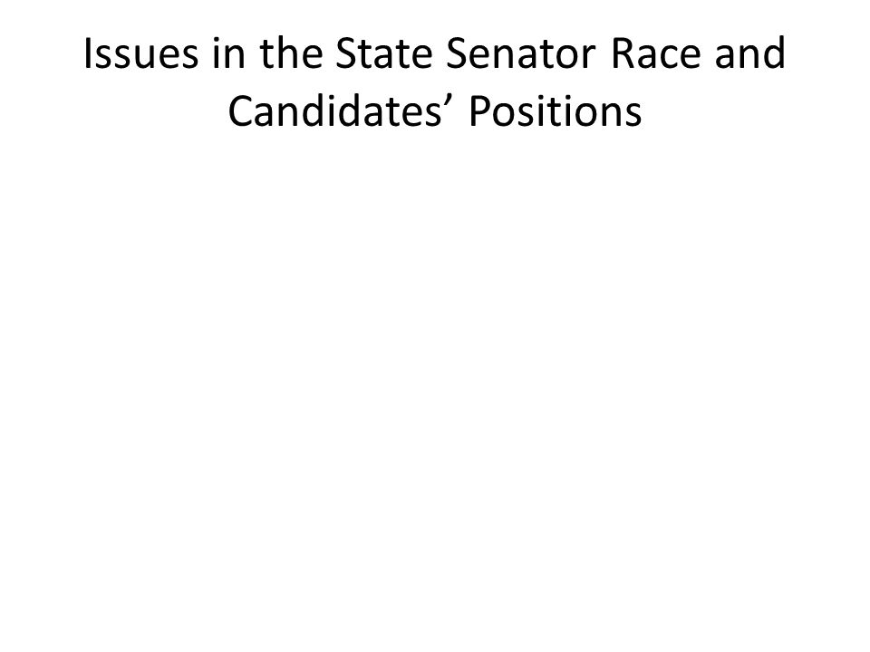Issues in the State Senator Race and Candidates' Positions