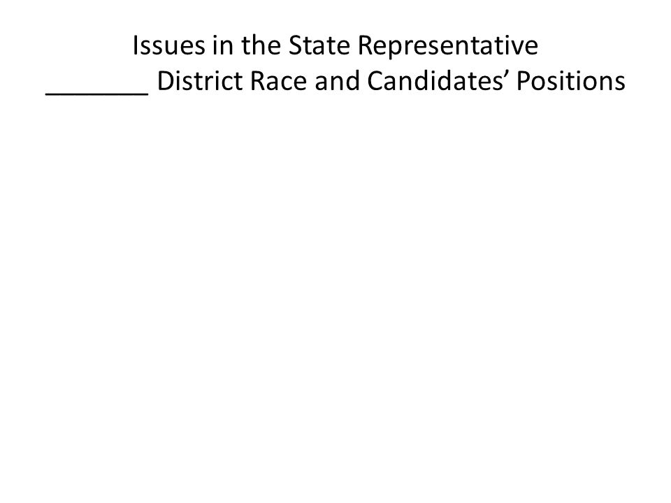 Issues in the State Representative _______ District Race and Candidates' Positions