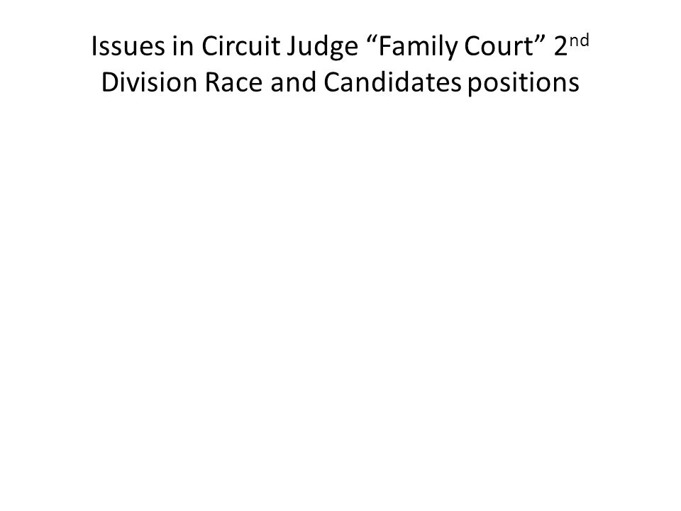 Issues in Circuit Judge Family Court 2 nd Division Race and Candidates positions