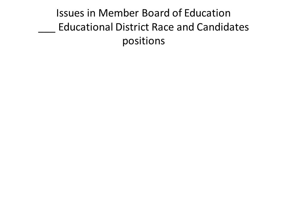 Issues in Member Board of Education ___ Educational District Race and Candidates positions