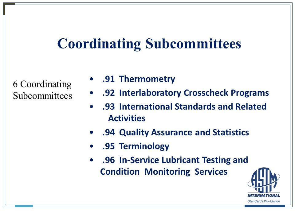 27 Coordinating Subcommittees.91 Thermometry.92 Interlaboratory Crosscheck Programs.93 International Standards and Related Activities.94 Quality Assur