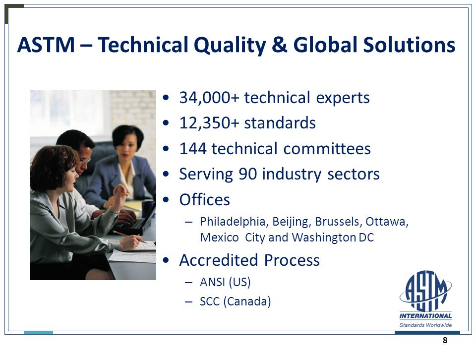 ASTM – Technical Quality & Global Solutions 34,000+ technical experts 12,350+ standards 144 technical committees Serving 90 industry sectors Offices –