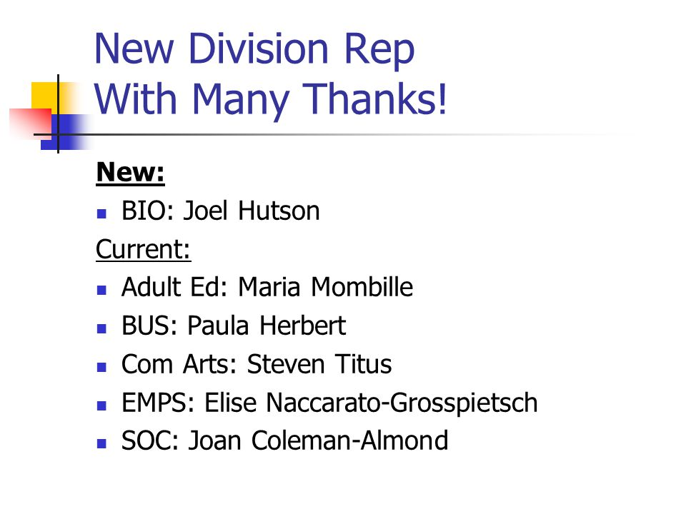 New: BIO: Joel Hutson Current: Adult Ed: Maria Mombille BUS: Paula Herbert Com Arts: Steven Titus EMPS: Elise Naccarato-Grosspietsch SOC: Joan Coleman-Almond New Division Rep With Many Thanks!