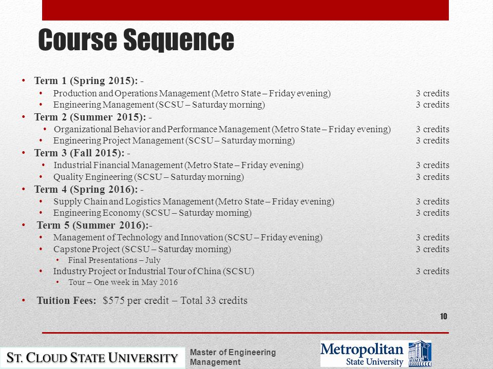 Course Sequence Term 1 (Spring 2015): - Production and Operations Management (Metro State – Friday evening)3 credits Engineering Management (SCSU – Saturday morning) 3 credits Term 2 (Summer 2015): - Organizational Behavior and Performance Management (Metro State – Friday evening) 3 credits Engineering Project Management (SCSU – Saturday morning)3 credits Term 3 (Fall 2015): - Industrial Financial Management (Metro State – Friday evening) 3 credits Quality Engineering (SCSU – Saturday morning)3 credits Term 4 (Spring 2016): - Supply Chain and Logistics Management (Metro State – Friday evening)3 credits Engineering Economy (SCSU – Saturday morning)3 credits Term 5 (Summer 2016):- Management of Technology and Innovation (SCSU – Friday evening)3 credits Capstone Project (SCSU – Saturday morning)3 credits Final Presentations – July Industry Project or Industrial Tour of China (SCSU)3 credits Tour – One week in May 2016 Tuition Fees: $575 per credit – Total 33 credits Master of Engineering Management 10