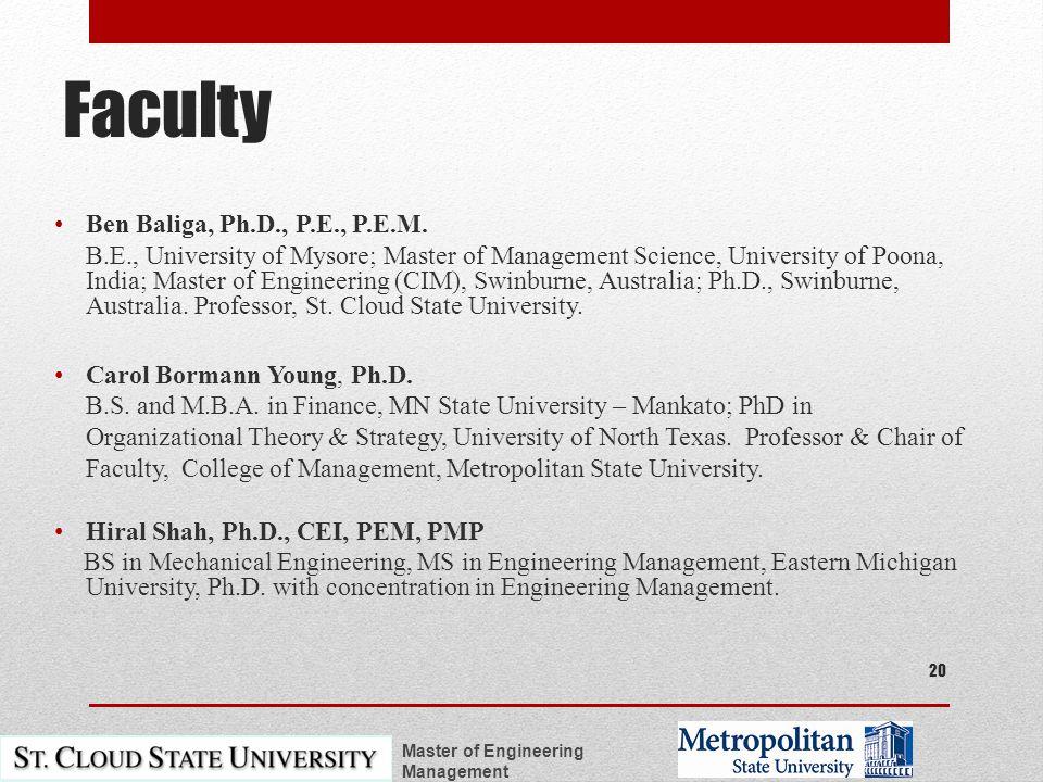 Faculty Ben Baliga, Ph.D., P.E., P.E.M.