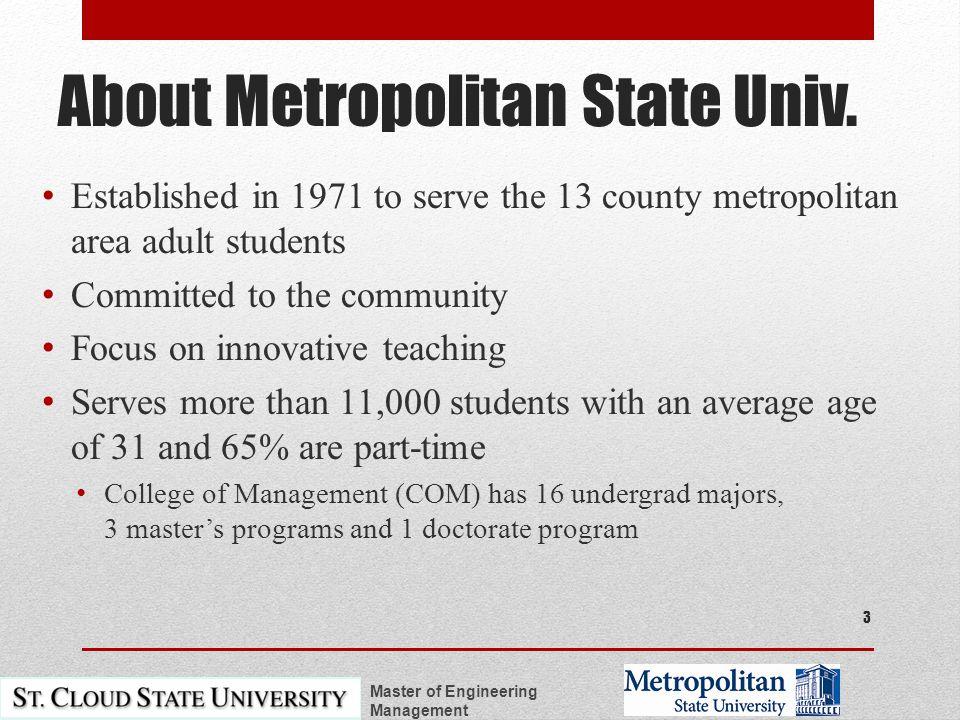 About Metropolitan State Univ.