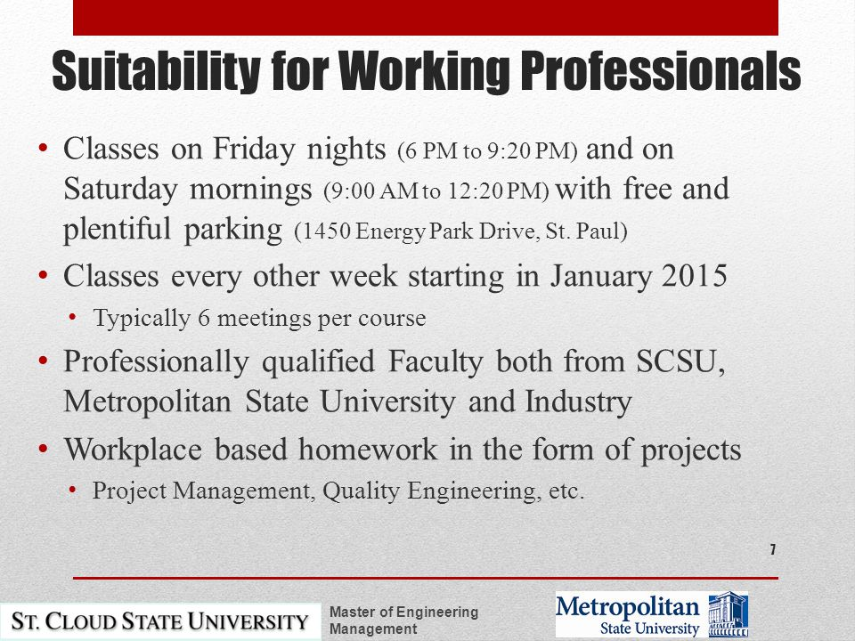 Suitability for Working Professionals Classes on Friday nights (6 PM to 9:20 PM) and on Saturday mornings (9:00 AM to 12:20 PM) with free and plentiful parking (1450 Energy Park Drive, St.