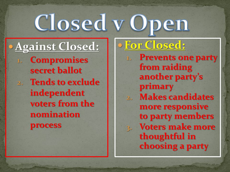 Against Closed: Against Closed: 1. Compromises secret ballot 2. Tends to exclude independent voters from the nomination process For Closed: For Closed
