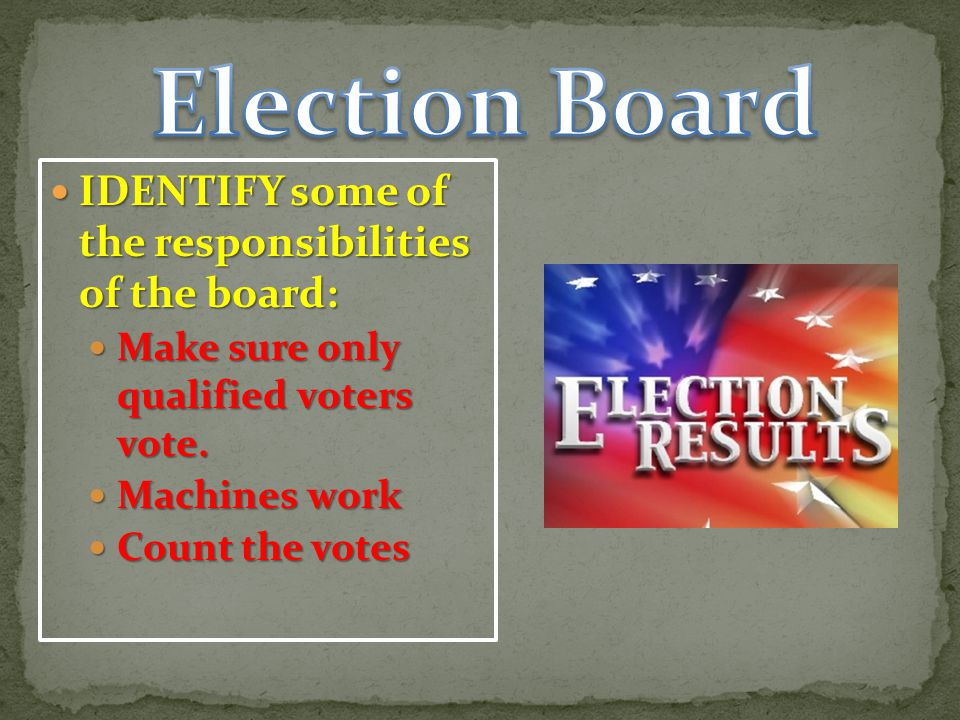 IDENTIFY some of the responsibilities of the board: IDENTIFY some of the responsibilities of the board: Make sure only qualified voters vote.