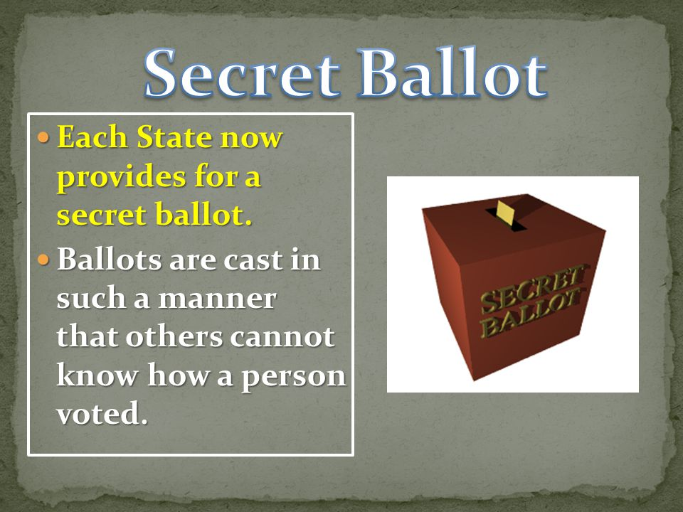 Each State now provides for a secret ballot.Each State now provides for a secret ballot.