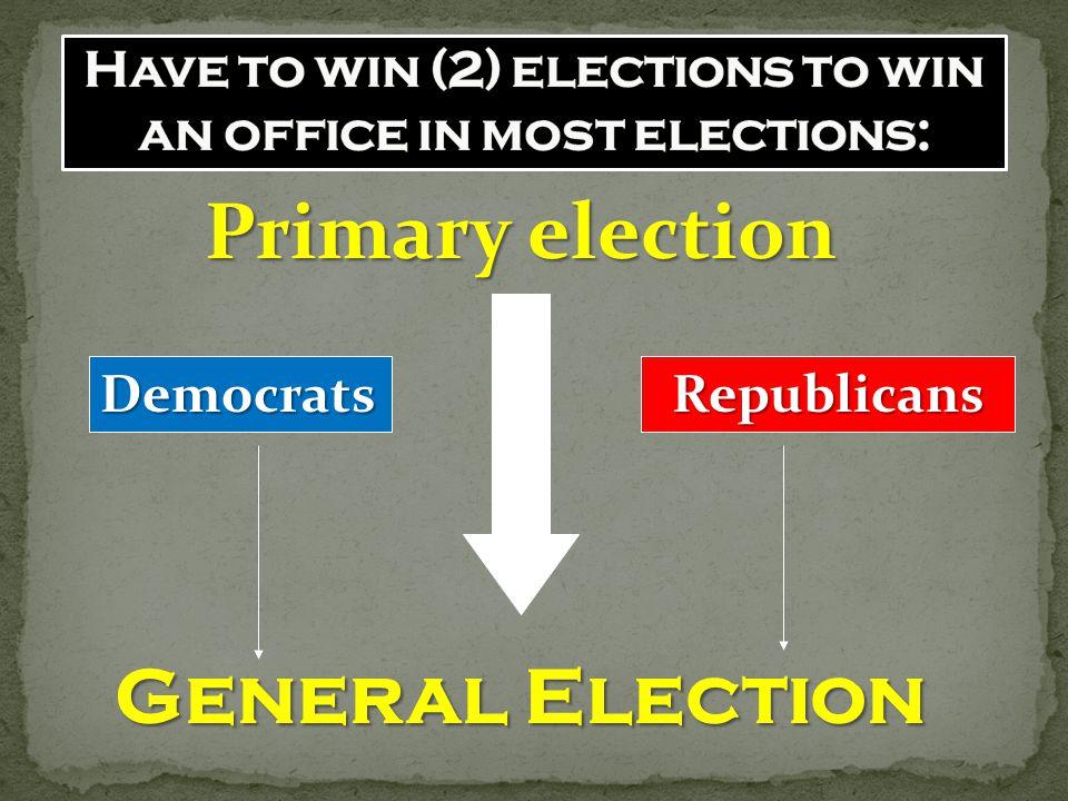 Primary election General Election DemocratsRepublicans